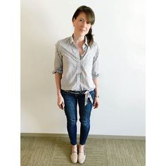 """Feeling """"grayt"""" in gray on this fine Tuesday  White and gray vertical striped button down, half tucked from @madewell1937  Skinny jeans, gray beaded ribbon sash, and Darby loafers in blush stone from @jcrew  #ootd #aotd #howtojcrew"""