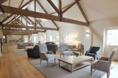 Cross beams add shape to an open space Converted Barn, Holiday Lettings, Building Design, Beams, Dining Table, Cottage, Living Room, House Styles, Furniture