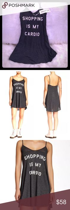 Sale! Wildfox NWT shopping is my cardio sundress✨ Beautiful new w tag sundress perfect for going out in the ☀️ sunshine or staying in relaxing 😎 Can be both a slip dress or sundress! So great for any time of the year! Great for vacations! Or fall/winter wear w a slouch Wildfox cardigan (also on sale in our closet) to wear out relaxed style or at home to enjoy a night off! Super soft cotton blend material w adorable writing! Soft dark grey color and white writing! On sale now! Retails $90…