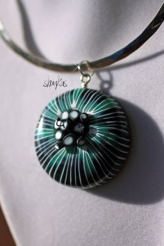 Polymer Clay Urchin Air Pendant  WEARABLE ART by shankas on Etsy