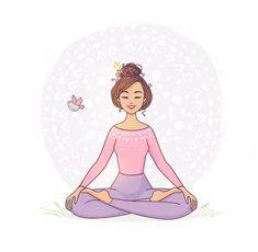 medytacja Lotus Pose, Happy Women, Girl Cartoon, Yoga, Disney Characters, Artwork, Detox, Work Of Art, Auguste Rodin Artwork