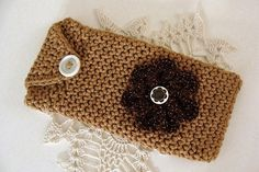 Crochet Eyeglass Case Army Tan Cotton With Flower - Crochet Pouch, Thread Crochet, Glasses Case, Eye Glasses, Cotton Crochet, Hand Crochet, Fabric Glue, Flower Center, Gold Sparkle