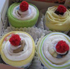 Onsie, Swaddle, Bib, Socks and Washcloth baby set - comes in a cute cupcake box!