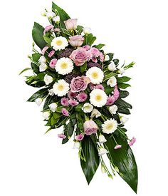 Lilac Double Ended Spray A double ended spray of lilac Roses, white Germini, Lisianthus, purple Trachelium and lavender Chrysanthemums. Flower Arrangements Delivery, Funeral Floral Arrangements, Easter Flower Arrangements, Easter Flowers, Flower Wreath Funeral, Funeral Flowers, Funeral Sprays, Funeral Tributes, Lilac Roses