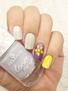 Disney nails Tangled – Picture Polish : Hussy – Essence : Lovely lanvender – Biguine : Jaune Pastel – Bourjois : Vacances à Hawaii n°66
