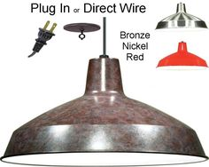 "Warehouse Pendant Swag Light Bronze, Nickel, Red 16""W"