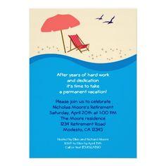 Beach Chair Retirement Party Invitation