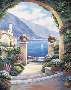 Mediterranian Archway By John Zaccheo Canvas Art - Painting Style Mediterranean Paintings, Stone Archway, Murals Your Way, Canvas Artwork, Metal Wall Art, Trip Planning, Wall Murals, Traveling By Yourself, Scenery