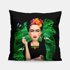 Frida Kahlo – Pillow at Live Heroes by Pia Kolle