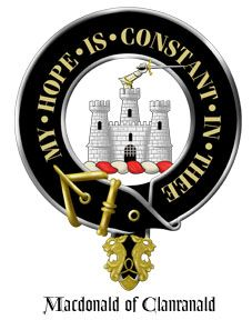 Clan MacDonald of Clanranald Crest: A triple-towered castle Argent masoned Sable, and issuing from the centre tower a dexter arm in armour embowed grasping a sword.  Motto: MY HOPE IS CONSTANT IN THEE. Badge: common heath (Scots heather)