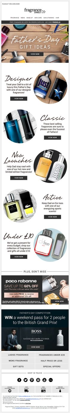 Fragrance Direct Father's Day Ideas and Recommendations #EmailMarketing #Email #Marketing #FathersDay #Fathers #Day #Beauty #Product #Recommendations #Gift #Ideas