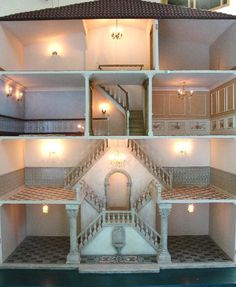 Venetian Palazzo dollshouse interior.(jt- this is beautiful. Click through for more pics and to get a closer look at the mosaic floor in the main entrance)
