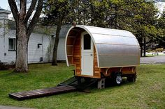 ProtoStoga, a modern Conestoga wagon just big enough for a double bed inside.
