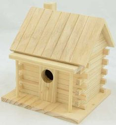 The log cabin birdhouse will make a great addition in your yard. Made with pine, this birdhouse is ready to be painted or finished for years of enjoyment in your yard. The birdhouse has approximate Wooden Bird Houses, Bird Houses Painted, Bird Houses Diy, Bird House Plans, Bird House Kits, Wooden Craft Supplies, Wooden Crafts, Homemade Bird Houses, Bird House Feeder
