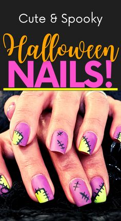 Get in the spooky spirit with these cute Halloween nail ideas! Cute Halloween nail designs! Easy Halloween nails diy! Easy Halloween nail designs. Diy Halloween nails easy. Diy Nail Designs, Short Nail Designs, Simple Nail Designs, Art Designs, Nail Art Diy, Diy Nails, Cute Nails, Cute Halloween Nails, Halloween Nail Designs
