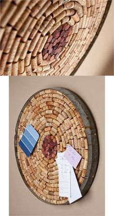"Perfect for any wine lover, this unique bulletin board has been handcrafted from an authentic Napa Valley wine barrel and includes the metal barrel band. Approximately 23"" in diameter and filled with a variety of wine corks, it's a show-stopper. We include hanging hardware for easy installation in your home or office."