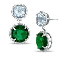 Blue topaz and emerald earrings - my wedding colors!