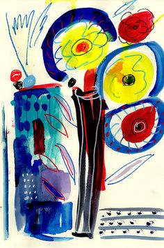 Painting drawing by artist Amara Dacer, wild bold flowers in yellow and red, for sale in Fine Arts America