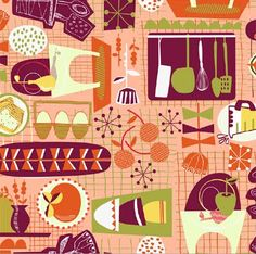 Reminiscent of kitchen patterns from the 50s, by Greta Songe