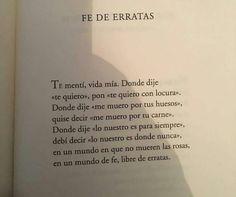 """Fe de erratas (""""Su nombre era el de todas las mujeres y otros poemas de amor y desamor"""". Luis Alberto de Cuenca)."""