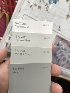 Here are the paint colors for our house. The exterior and trim work are snowbound. The main part of the house is repose gray. The master bedroom and keeping room are mindful gray, and the shutters are acier.