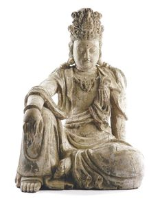 A LARGE POLYCHROME WOOD FIGURE OF GUANYIN, CHINESE, 16TH/17TH CENTURY  seated in Royal Ease, wearing flowing robes and a crown with a central image of Buddha and an elaborate high chignon  107cm high