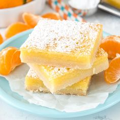 Orange Dream Bars - lemon bars that are made with fresh orange juice! They have a thick shortbread crust and a sweet orange citrus filling.