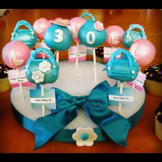 30th Teal and Pink Birthday Cake Pops