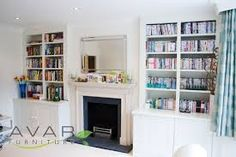bookcases in alcoves