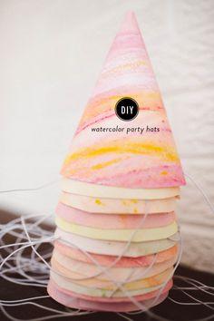 DIY Watercolor Party Hats