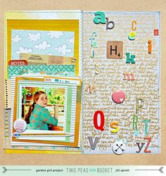 Scrap Your Stash: An Embedded Alphabet by Jill Sprott @2peasinabucket