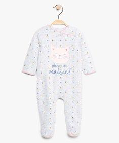 a9cc9352c260b Pyjama bébé fille en velours fermé au dos à motif chat Gris clair