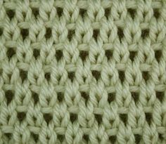 knitting stitch tutorial pattern Eyelet Moss Stitch: You need a stitch number multiple of 2 + 1 + 2 edge stitches. Repeat the pattern between the arrows as many times as you like.  Work all rows as shown in the chart. Right side rows (1, 3, etc.) are worked from right to left. Wrong side rows (2, 4, etc.) are worked from left to right.