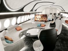 Airbus Corporate Jets introduced its new Harmony interior concept for the private jet versions of the company& and wide-body airliners. Features include VIP suites and a holographic globe in the entrance of the cabin. Jets Privés De Luxe, Luxury Jets, Luxury Private Jets, Private Plane, Skyline Gtr, Lamborghini Gallardo, Airplane Interior, Jet Privé, Private Jet Interior