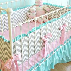 Nursery Room Charming White Iron Stained Baby Crib Design Combine With Gray And White Chevron Pattern Fabric Mattress Also Pink Dot Pattern Mattress Delightful Chevron Baby Crib For Baby Nursery Design Collection