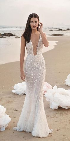 Lee Grebenau Magnolia wedding dress, from our FW 2019 Collection. Sleeveless illusion deep plunge mermaid gown with exquisite floral embellishments. Shown with leather belt. 2020 Wedding dress trumpet wedding dress open v back chapel train Informal Wedding Dresses, Dresses Elegant, Sexy Wedding Dresses, Bridesmaid Dresses, Beach Wedding Gowns, Beach Gowns, Beach Bridal Dresses, Satin Mermaid Wedding Dress, Mermaid Gown