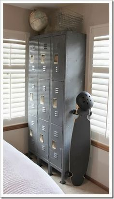 Awesome boy's industrial-inspired room--love love love the silver lockers!