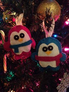Mr. and Mrs. felt penguin ornaments