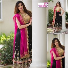 """"""" Exactness of intention produces elegance of style.""""  Look like one in this beautiful, full length anarkali style of rich embroidered black net with golden sequinced yoke teamed with magenta pink dupatta.  Product Code: VBDR - 307  For price inquiries/ orders/appointments to visit our studio mail to vinaya.gv@gmail.com or call at 408-666-0070."""
