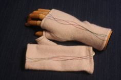 Pale Pink Cashmere Fingerless Gloves with by sardineclothing