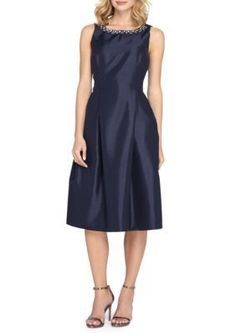 Tahari Navy Bead Embellished Fit and Flare Dress