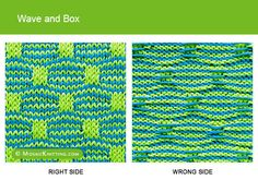 Mosaic Knitting - Two color Slip Stitch Pattern. Knit Wave and Box stitch