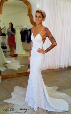 Perfect Poipu Bridal Gown fitting in the Katie May salon. http://www.katiemay.com/products/poipu