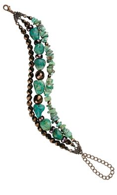 Beaded Jewelry Jewelry Design - Triple-Strand Bracelet with Turquoise Beads and Czech Fire-Polished Glass Beads - Fire Mountain Gems and Beads Beaded Jewelry Designs, Jewelry Patterns, Handmade Jewelry, Box Patterns, Bracelet Patterns, Jewelry Crafts, Jewelry Bracelets, Jewelery, Jewelry Ideas