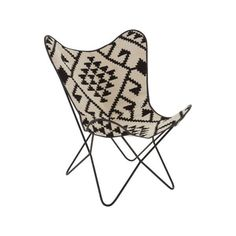 Buffalo Butterfly Chair The unassuming black metal frame is covered by a sling made from genuine brown Buffalo leather. Stitching travels across the surface of the chair, creating a visual contrast to the smooth le.