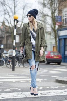 Uniqlo parka / Cos breton tee and cashmere beanie / HM ripped jeans / Acne bag / Jimmy Choo pumps / Michael Kors watch  via Camille Over the Rainbow