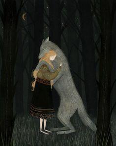 'There there, little friend' by artist Taryn Knight Art And Illustration, Illustrations, Potnia Theron, Fairytale Art, Red Riding Hood, Dark Art, Art Inspo, Fantasy Art, Fairy Tales