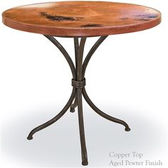 Round Barn Wood Dining Table With Forged Metal Base By