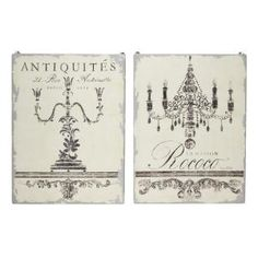 A & B Home Southern Living French Country Antique Panel Wooden Wall Decor (Set of 2)-43983-DS - The Home Depot Wooden Wall Decor, Wall Decor Set, Wall Art Sets, Wooden Walls, Decorative Trim, Candelabra, Wall Sculptures, French Script, Screen Printing