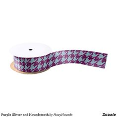 Purple Glitter and Houndstooth Satin Ribbon